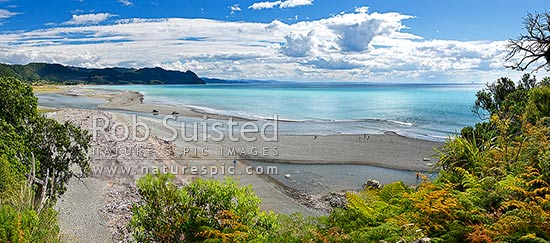 Motu River mouth panorama with people fishing on sand bars for Kahawai. Rising in the Raukumara Ranges and flowing into the Eastern Bay of Plenty, Motu, Opotiki District, Bay of Plenty Region, New Zealand (NZ) stock photo.