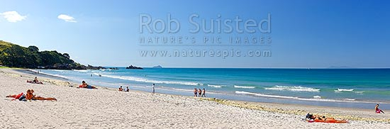 Mount Maunganui summer beach panorama with swimmers and sunbathers, Mount Maunganui, Tauranga District, Bay of Plenty Region, New Zealand (NZ) stock photo.