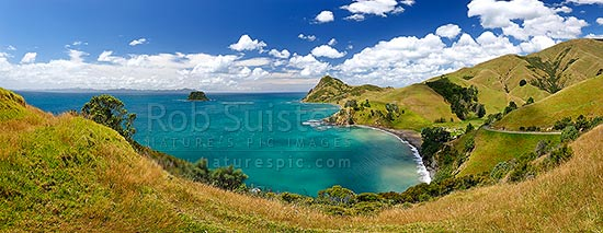 Fletcher Bay at northern tip of the Coromandel Peninsula. Great Barrier (Aotea) Island and Square topped Island left. Panorama, Cape Colville, Thames-Coromandel District, Waikato Region, New Zealand (NZ) stock photo.