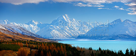 Aoraki / Mount Cook (3754m) and Lake Pukaki in winter. Mt La Perouse (3078m) left, Tasman Valley and Burnett Mountains Range right. Panorama with late autumn colours, Aoraki / Mount Cook National Park, MacKenzie District, Canterbury Region, New Zealand (NZ) stock photo.