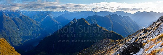 Looking along Edith River - George River alpine tops to George Sound. Lake Alice lelft, Anchorage Cove right. Glaisnock Wilderness Area. Panorama, Fiordland National Park, Southland District, Southland Region, New Zealand (NZ) stock photo.