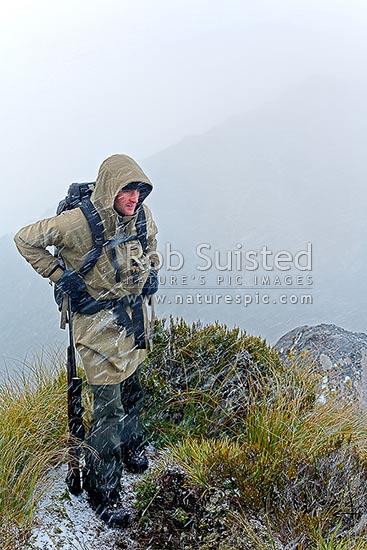 Deer Hunter In Snow Storm On Tussock Alpine Tops Wapiti