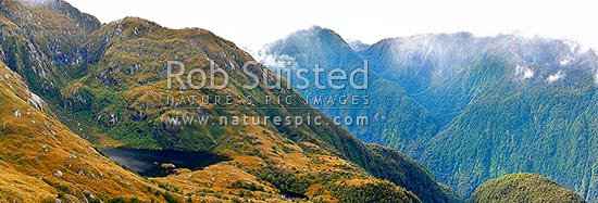 Edith River tops, looking across to Impossible Creek, Glaisnock Widlerness Area. Panorama, Fiordland National Park, Southland District, Southland Region, New Zealand (NZ) stock photo.