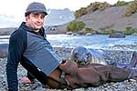 Rob Suisted with Elephant seal pup