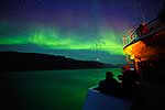 Greenland Aurora above ship