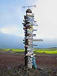 Signpost at Jan Mayen Island, Arctic