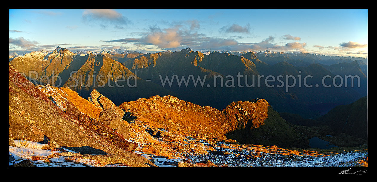 Image of Looking across the Edith River to the Edith-Wapiti River alpine tops at dusk. Lake Alice right. Glaisnock Wilderness Area panorama, Fiordland National Park, Southland District, Southland Region, New Zealand (NZ) stock photo image