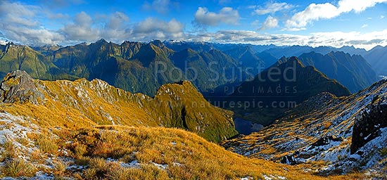 Looking across the Edith River to Lake Alice (centre) at dusk. George Sound far right. Glaisnock Wilderness Area panorama, Fiordland National Park, Southland District, Southland Region, New Zealand (NZ) stock photo.