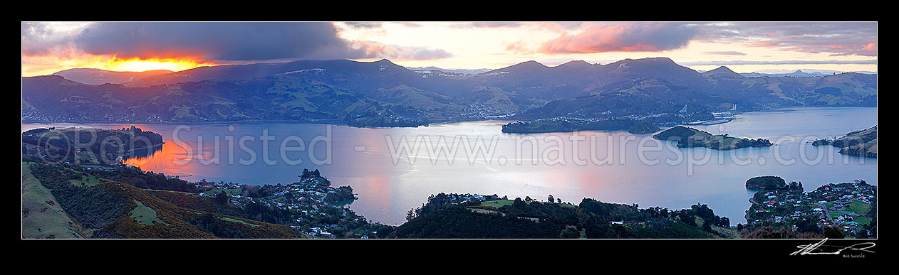 Image of Otago Harbour evening panorama looking over Port Chalmers, Broad Bay, Portobello and Quarantine Island, Otago Peninsula, Dunedin City District, Otago Region, New Zealand (NZ) stock photo image