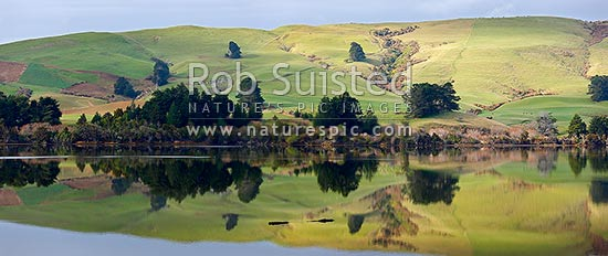 Farmland and rolling pasture reflected in the Catlins Lake. Hinahina Hill. Panorama, Owaka, Clutha District, Otago Region, New Zealand (NZ) stock photo.