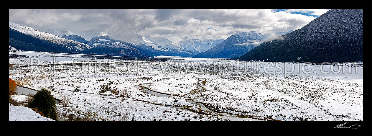 Image of Waimakariri River valley from Cora Lynn. Looking up to the Southern Alps in heavy winter snow. Panorama, Arthur's Pass National Park, Selwyn District, Canterbury Region, New Zealand (NZ) stock photo image