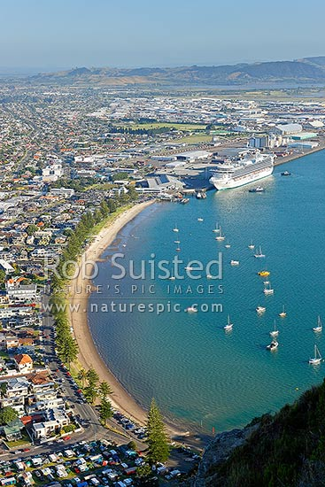 Mount Maunganui with cruise ship, the Diamond Princess from Princess Cruises in Port of Tauranga and Tauranga Harbour, Mount Maunganui, Tauranga District, Bay of Plenty Region, New Zealand (NZ) stock photo.