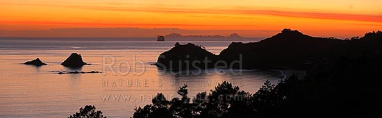 Sunrise over Hahei Beach, Hereheretaura Point, Wigmore Pass and Te Karaka Island (left). The Aldermen Islands at right beyond. Peaceful morning panorama, Hahei, Coromandel Peninsula, Thames-Coromandel District, Waikato Region, New Zealand (NZ) stock photo.