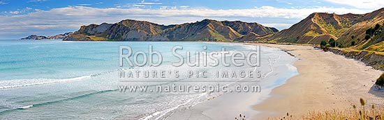 Kaiaua Bay Beach with Te Karaka Point beyond. People walking on beach, and summer campers in distance. Panorama, Tolaga Bay, Gisborne District, Gisborne Region, New Zealand (NZ) stock photo.