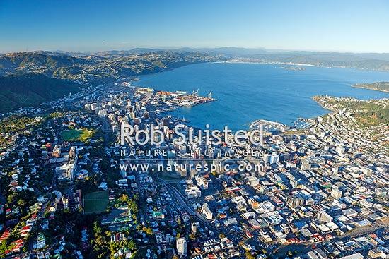Wellington City Cbd Aerial View City Harbour And Wharves Centre