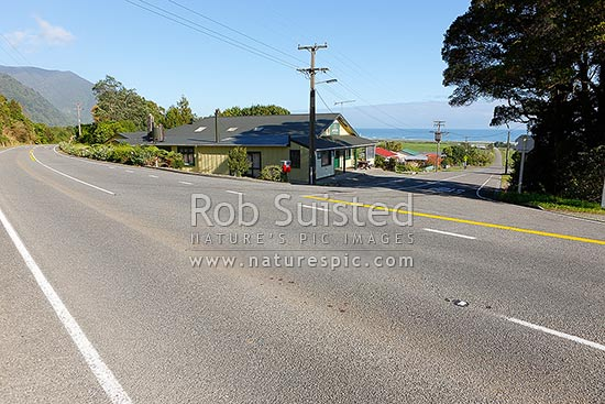 Barrytown township on State Highway 6, Punakaiki Coast, Barrytown, Grey District, West Coast Region, New Zealand (NZ) stock photo.