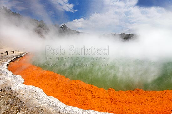 The famous coloured hotspring 'Champagne Pool' and sintered terrace, Waiotapu Geothermal Area. Wai-o-tapu, Rotorua, Rotorua District, Bay of Plenty Region, New Zealand (NZ) stock photo.