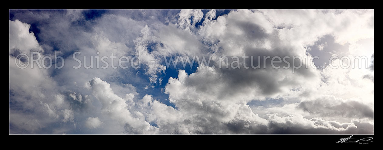 Image of White fluffy clouds in blue sky. Very large panorama file suitable for murals, New Zealand (NZ) stock photo image