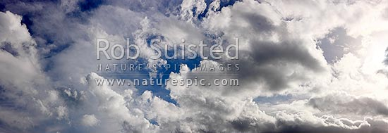 White fluffy clouds in blue sky. Very large panorama file suitable for murals, New Zealand (NZ) stock photo.