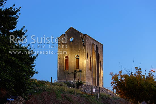 The Cornish Pumphouse is a relic of the original mine in Waihi - the richest gold mine in New Zealand (1878-1952). Built around 1904, at dawn, Waihi, Hauraki District, Waikato Region, New Zealand (NZ) stock photo.