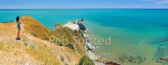 Visitor to Cape Kidnappers, taking photos of the Saddle Gannet Colony and azure blue sea. Summer panorama, Cape Kidnappers, Hastings District, Hawke's Bay Region, New Zealand (NZ) stock photo.