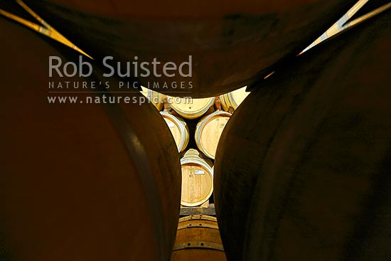 Oak wine barrels stacked in cellar, Havelock North, Hastings District, Hawke's Bay Region, New Zealand (NZ) stock photo.