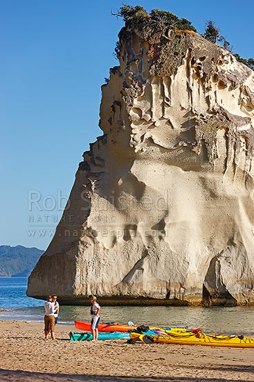 Cathedral Cove with sea kayakers kayaking in the early morning, Hahei, Coromandel Peninsula, Thames-Coromandel District, Waikato Region, New Zealand (NZ) stock photo.