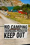 KEEP OUT sign - summer camping