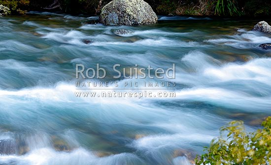 Buller River passing through rapids and rocks near Lake Rotoiti and its headwaters, Nelson Lakes National Park, Tasman District, Tasman Region, New Zealand (NZ) stock photo.