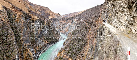 Shotover River below Skippers Road and Pinchers Bluff; panorama, Queenstown, Queenstown Lakes District, Otago Region, New Zealand (NZ) stock photo.