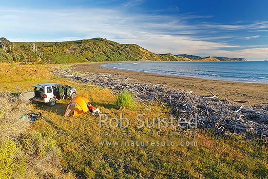 Port Awanui and Te Wharau Beach with a couple of tent campers and 4wd enjoying the summer morning. East Cape and East Island (Whangaokeno) visible in distance, Port Awanui, East Coast, Gisborne District, Gisborne Region, New Zealand (NZ) stock photo.