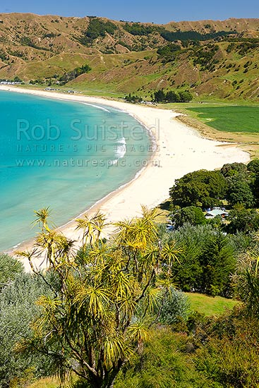 Anaura Bay and site of Captain James Cook landing in 1769, Anaura Bay, East Coast, Gisborne District, Gisborne Region, New Zealand (NZ) stock photo.