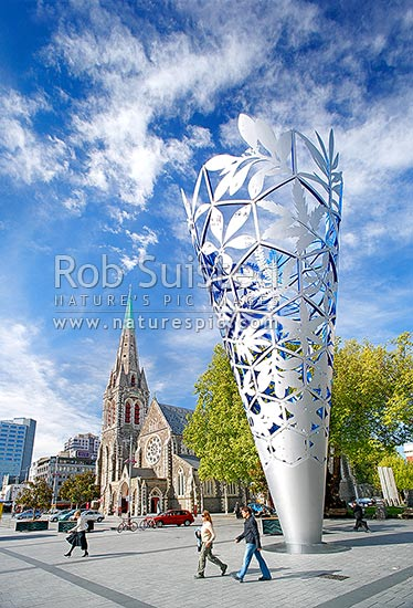 Christchurch Cathedral in Cathedral Square with Neil Dawson Chalice sculpture. Vertical panorama, Christchurch, Christchurch City District, Canterbury Region, New Zealand (NZ) stock photo.