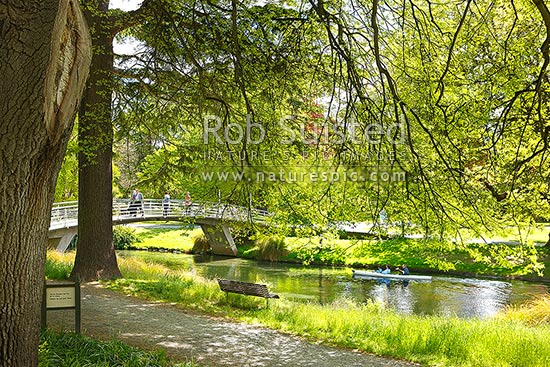 Hagley Park and Avon River in the Christchurch botanical gardens, Christchurch, Christchurch City District, Canterbury Region, New Zealand (NZ).