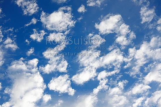 Blue sky and clouds, New Zealand (NZ) stock photo.