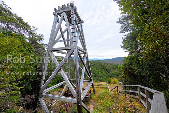 Big River quartz gold mine historic Poppet Head structure which operated from 1882 to 1942, Victoria Forest Park, Reefton, Buller District, West Coast Region, New Zealand (NZ).