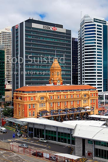 Auckland Ferry building, an historic 1912 iconic landmark building on the Auckland waterfront. Also called the Downtown Ferry Terminal, Auckland, Auckland City District, Auckland Region, New Zealand (NZ) stock photo.
