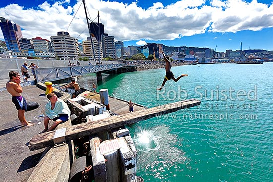 Wellington waterfront with teenagers jumping off a diving board near Frank Kitts Park and lagoon bridge, Wellington, Wellington City District, Wellington Region, New Zealand (NZ) stock photo.