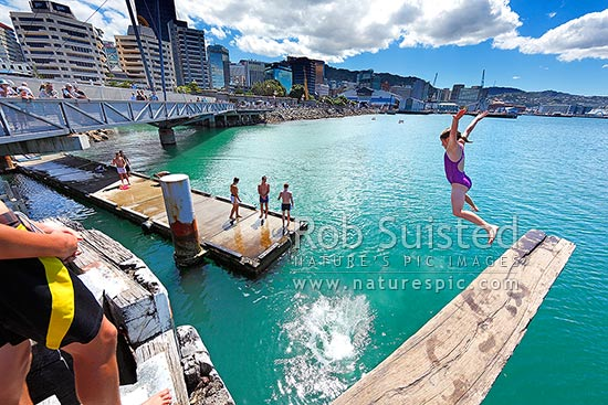 Wellington waterfront with children jumping off a diving board near Frank Kitts Park and lagoon bridge, Wellington, Wellington City District, Wellington Region, New Zealand (NZ) stock photo.