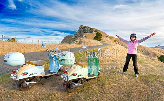 Excited woman scooter rider on Te Mata Peak on a beautiful summer evening, Havelock North, Hastings District, Hawke's Bay Region, New Zealand (NZ) stock photo.
