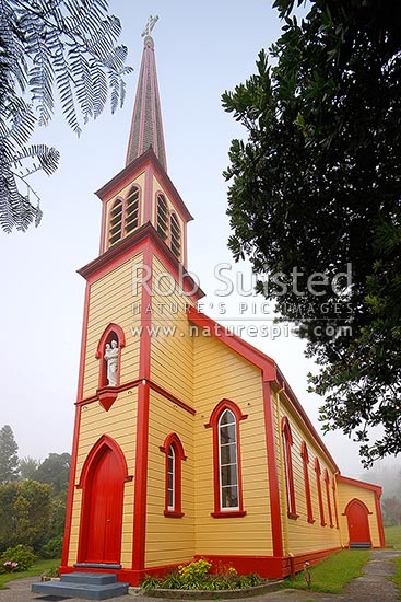 St Joseph's Church built in 1892 at the congregation of the Sisters of Compassion. A Maori mission was begun here by the Catholic Church in 1883, Jerusalem, Hiruharama, Whanganui River, Wanganui District, Manawatu-Wanganui Region, New Zealand (NZ) stock photo.