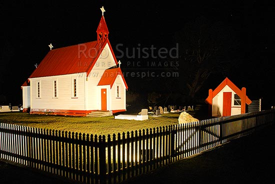 Waitetoko Church at Waitetoko Marae. Old Maori church and Urupa, taken at night, Turangi, Taupo District, Waikato Region, New Zealand (NZ) stock photo.