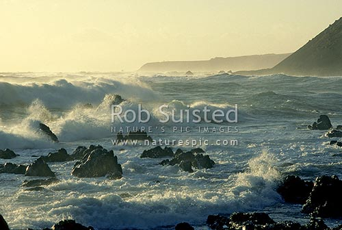 Late evening with stormy seas on the south coast of Wellington, Wellington, Wellington City District, Wellington Region, New Zealand (NZ) stock photo.