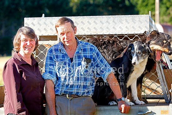 Don and Anne Reid (nee Chisolm) portrait. Retired Managers of Molesworth Station for 31 years, Te Anau, New Zealand (NZ) stock photo.