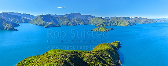 Marlborough Sounds, inner Queen Charlotte Sound from above The Snout, with Allports Island centre. Torea Bay, Kaipakirikiri and Kumutoto Bays left. Aerial panaroma, Marlborough Sounds, Marlborough District, Marlborough Region, New Zealand (NZ) stock photo.