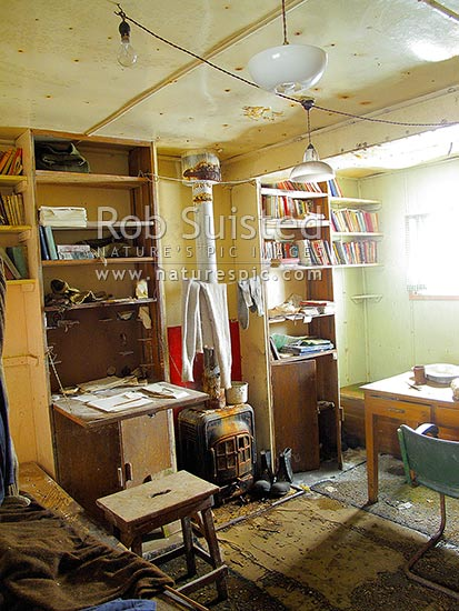 Inside the abandoned British Antarctic Base W on Detaille Island (inhabited 1956 to 1959