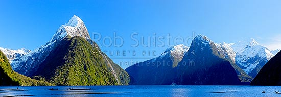 Snow capped Mitre Peak above Milford Sound Fiordland. Mitre Peak left (1683m). The Lion (1302m) and Mt Pembroke (2015m) and Harrison Cove at right. Winter panorama, with tour boat visible, Milford Sound, Fiordland National Park, Southland District, Southland Region, New Zealand (NZ) stock photo.