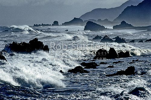 Stormy sea, Cape Turakirae, South Wairarapa District, Wellington Region, New Zealand (NZ) stock photo.