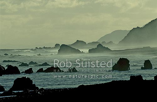 Surf and sea mist on rocky coastline, South Wairarapa, Cape Turakirae, South Wairarapa District, Wellington Region, New Zealand (NZ) stock photo.