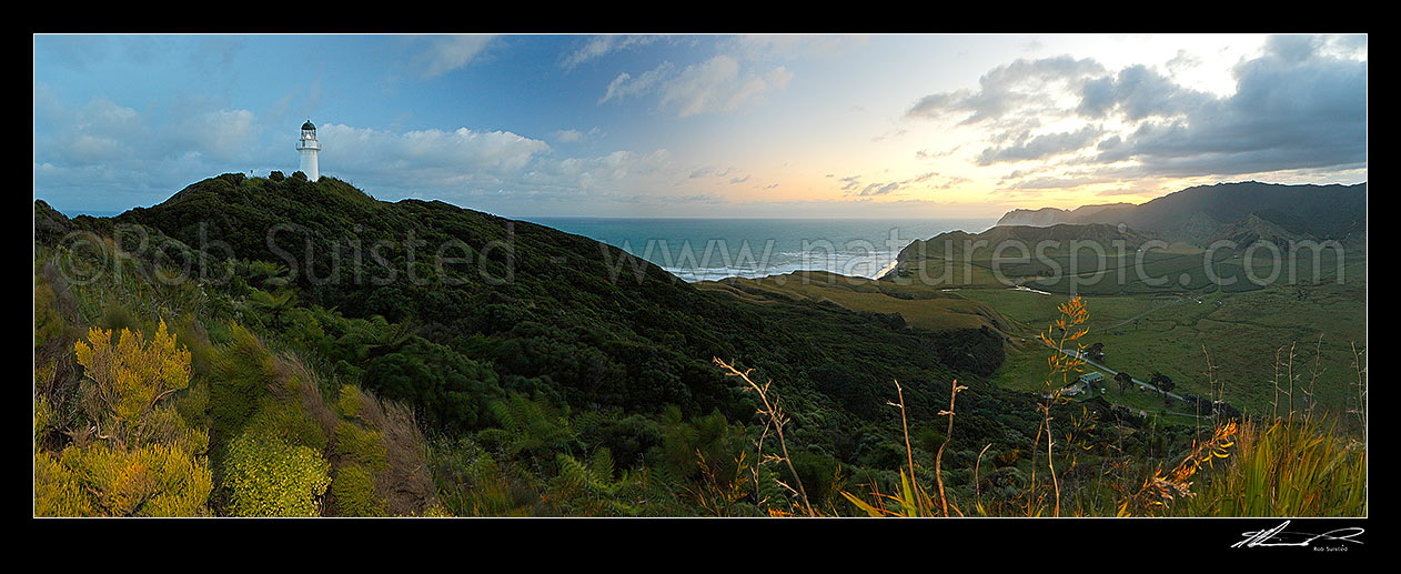 Image of East Cape lighthouse at dusk, Tunanui Stream and Waikori Bluff distant right. Panorama, East Cape, Gisborne District, Gisborne Region, New Zealand (NZ) stock photo image